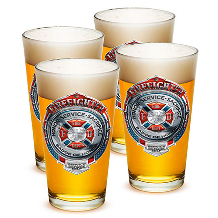 Four-Pack Firefighter Badge Of Honor Pint Glasses