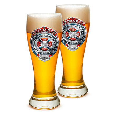 Two Firefighter Honor Service Sacrifice Pilsner Drinking Glasses