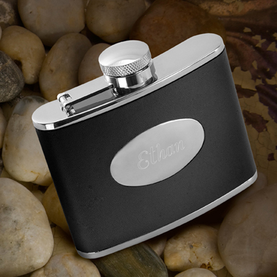 Personalized Leather Stainless Steel 4oz. Flask