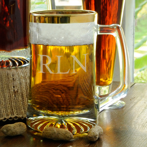 Personalized Gold Rimmed Custom Beer Mug