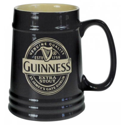 Guinness Black Ceramic Tankard Mug