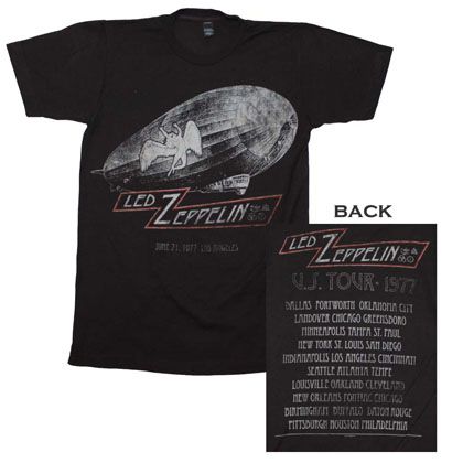 Led Zeppelin Cities 1977 Tour T-Shirt