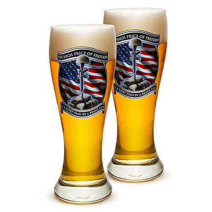 Pair of High Price Of Freedom Pilsner Beer Glasses