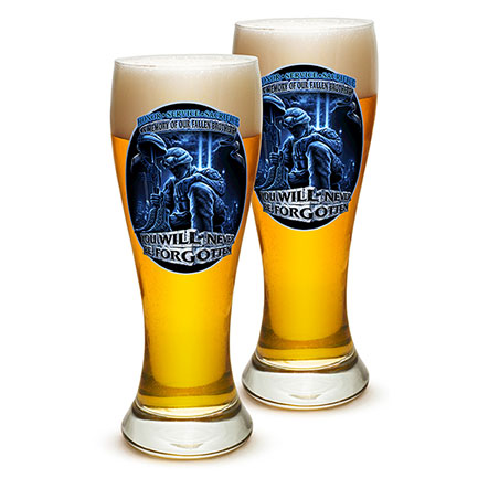 Pair of Firefighter Fallen Brothers Pilsner Beer Glasses