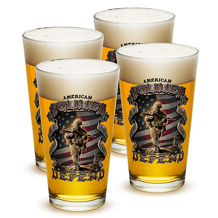Four Pack American Solider Patriotic Pint Glasses