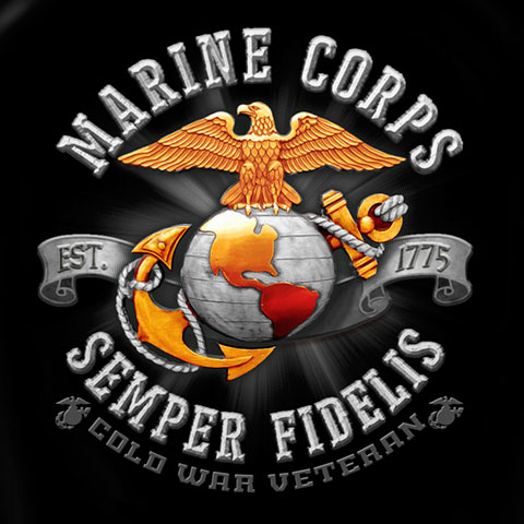 Men's Black USMC Marines Cold War Veteran Tee Shirt