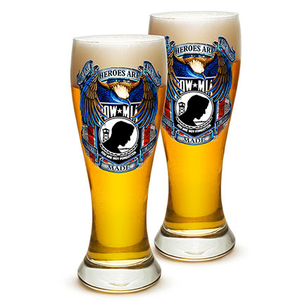 Pair of POW MIA Pilsner Drinking Glasses
