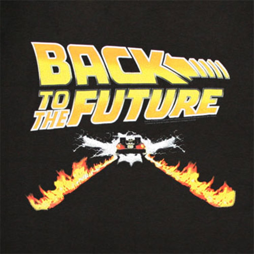 Back To The Future Flames Black Graphic TShirt