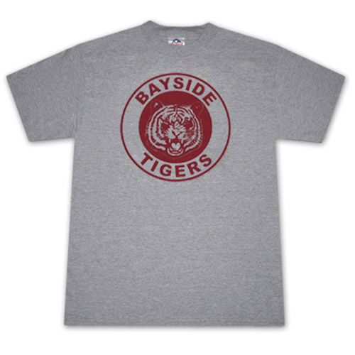 Saved By The Bell Bayside Tigers Heather Grey Graphic Tee Shirt